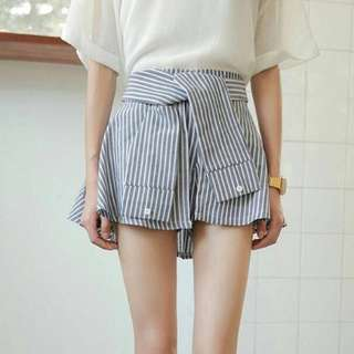 BN Pinstriped Self-Tie 'Shirt' Skirt