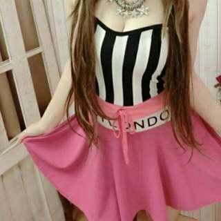 全新 拼接 條紋 罩杯綁帶英文字母平口洋裝