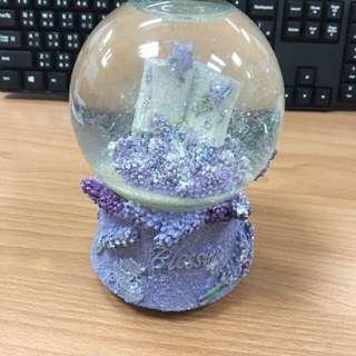 紫色幸福水晶球音樂盒
