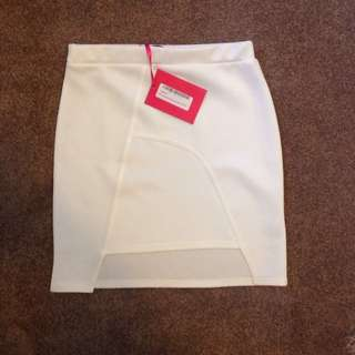 Brand New Boohoo Scuba White Skirt