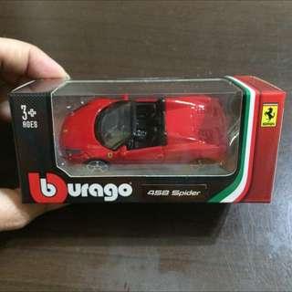 458 Spider【現貨】義大利原廠授權(!!)Burago  1/64 法拉利RACE&PLAY 合金小車