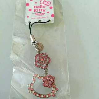 daf1dc787f6919 New Authentic Hello Kitty Swarovski Crystal Studded Silver Charm With Sling  And Clip
