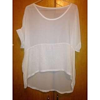 白色透膚罩衫