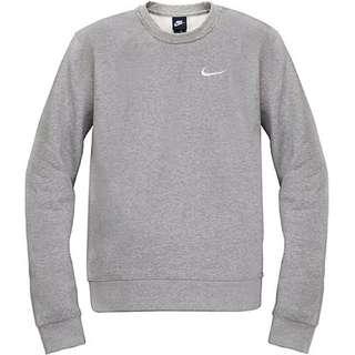 全新正品Nike Sweatshirt With Embck 灰色 長袖 Logo 棉質 美版 刷毛 保暖 大學T 男女