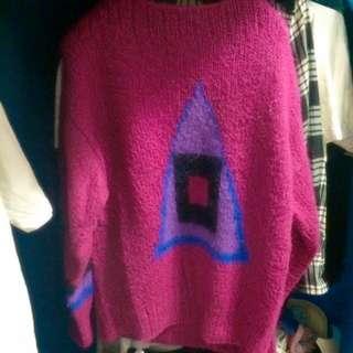 [含運] 古著幾何oversize毛衣