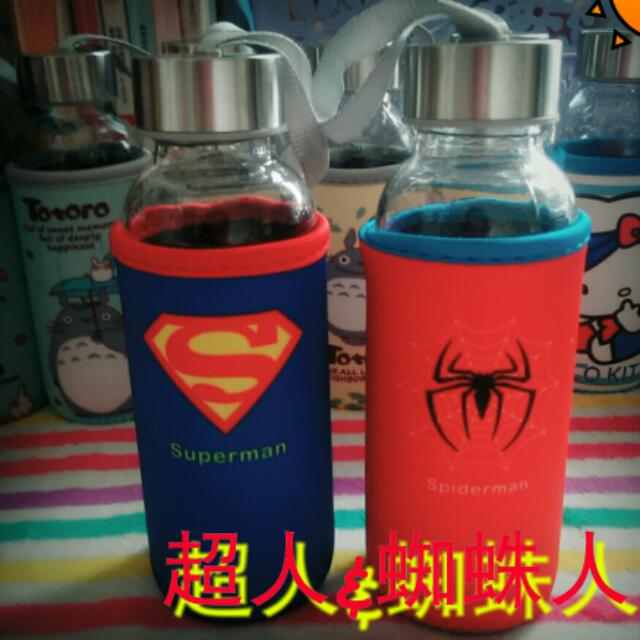 含運!!超人,蜘蛛人玻璃水瓶水壺+布套-300ml