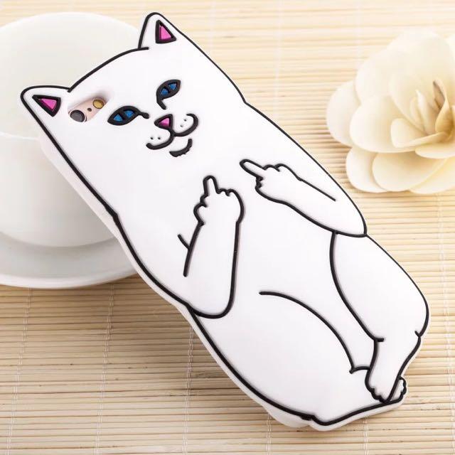 白貓不爽手機殼