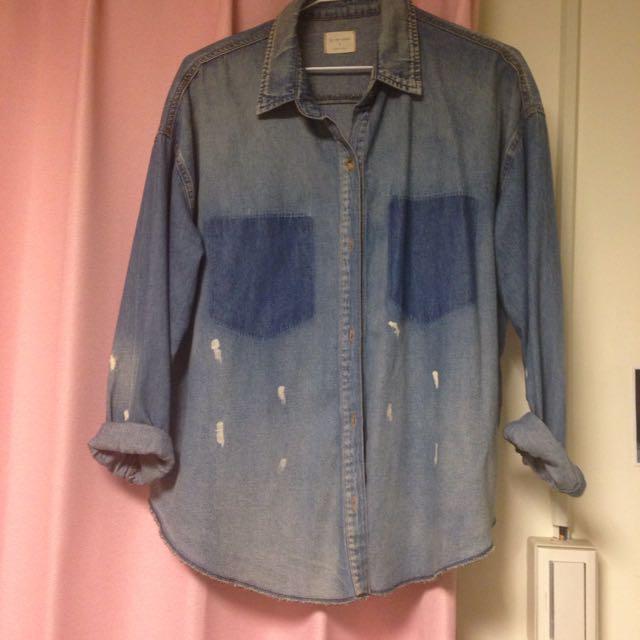 韓版刷舊潑漆藍牛仔襯衫