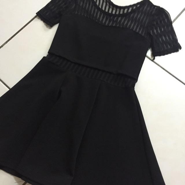 全新✨馬甲條紋透視洋裝