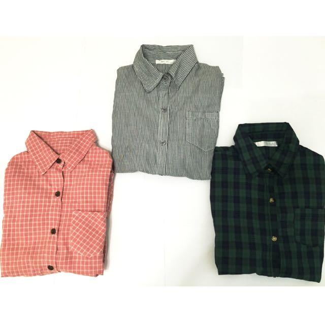保留💕粉格/藍綠格/直條紋襯衫