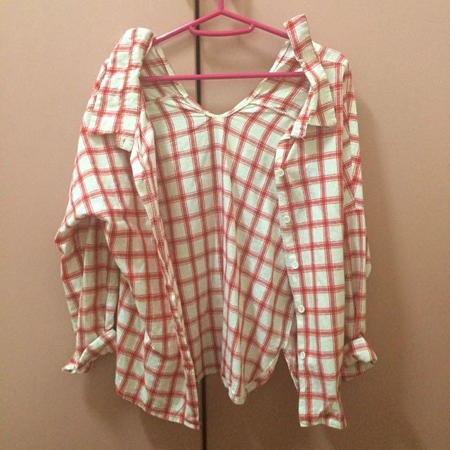 ✨造形紅格復古襯衫✨
