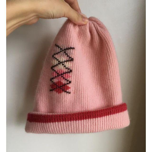 粉紅色羊毛混兔毛輕柔毛帽 全新