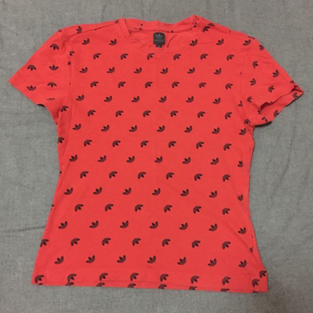 二手-Adidas Original 三葉草紅色短袖上衣