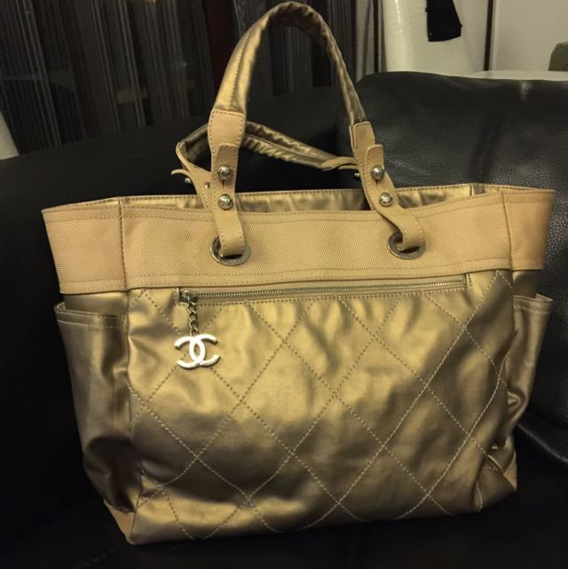 7ed954b326cb Price Reduced) Authentic Chanel Biarritz Tote Bag In Pewter, Luxury ...