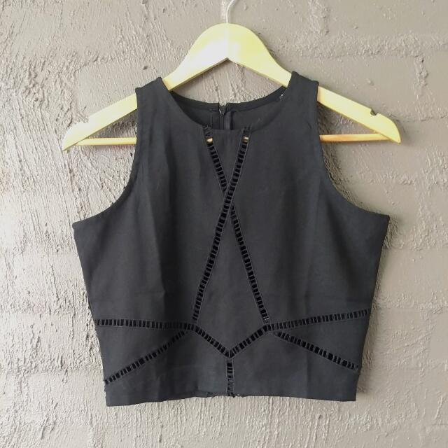 Black Peek Lace Crop Top