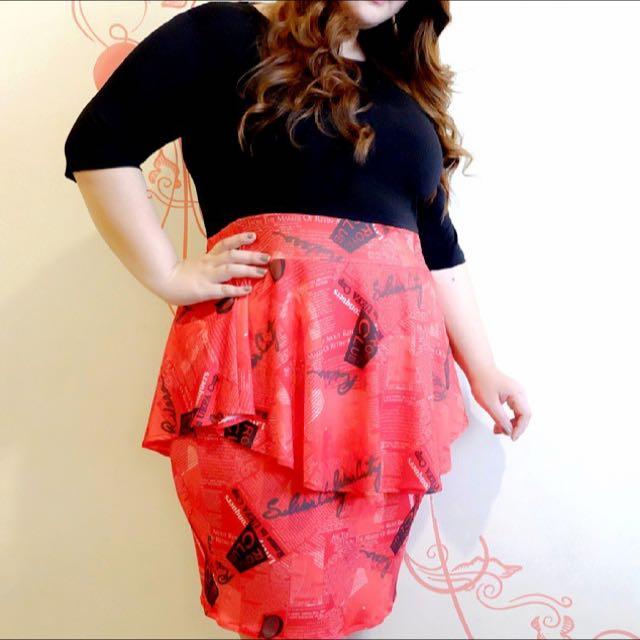 Peplum Dress - Red