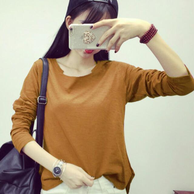 大u領-卡其 透氣竹節棉長袖打底衫 修身顯瘦T Shirt