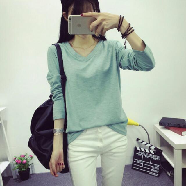 大v領-淺綠&玫紅 透氣竹節棉長袖打底衫 修身顯瘦T Shirt