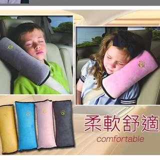 汽車用品 可愛兒童睡覺短毛麂皮絨安全帶保護套/護肩枕 4色