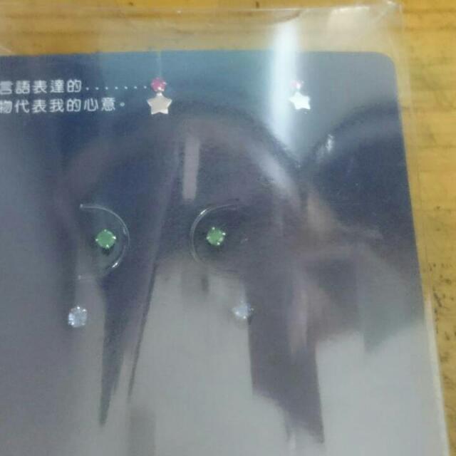 全新日本10k耳環,三對一起帶1500含運