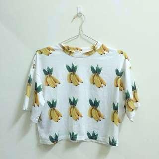 微高領韓國製 香蕉短袖上衣