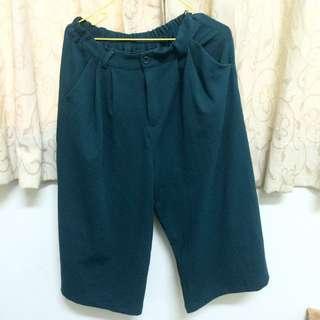 墨綠色寬褲 鬆緊打褶 有褲頭