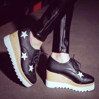 全真皮AB同款厚底星星方頭鞋