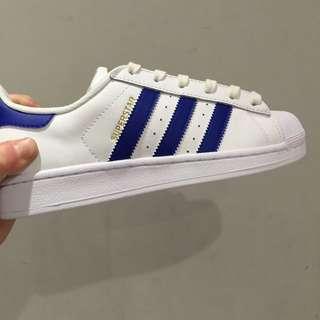 Adidas Superstar  貝殼鞋 金標 白藍 情侶款