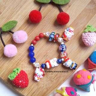 Blue Red Kitty Bracelet