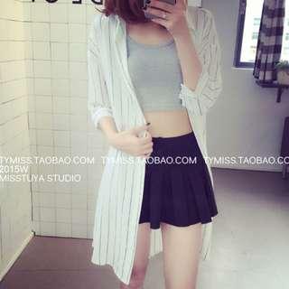 White Stripe Long Outwear