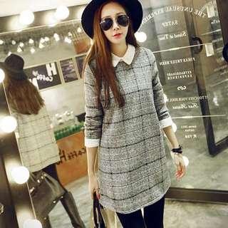 秋季新款✨韓版大碼蕾絲拼接格紋毛呢連衣裙