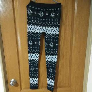全新-溫暖的雪花內搭褲