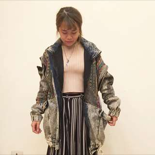 日本 民俗風 民族風 拼接牛仔大衣外套