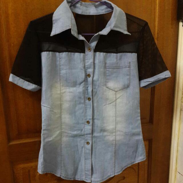 (全新)牛仔透膚造型襯衫