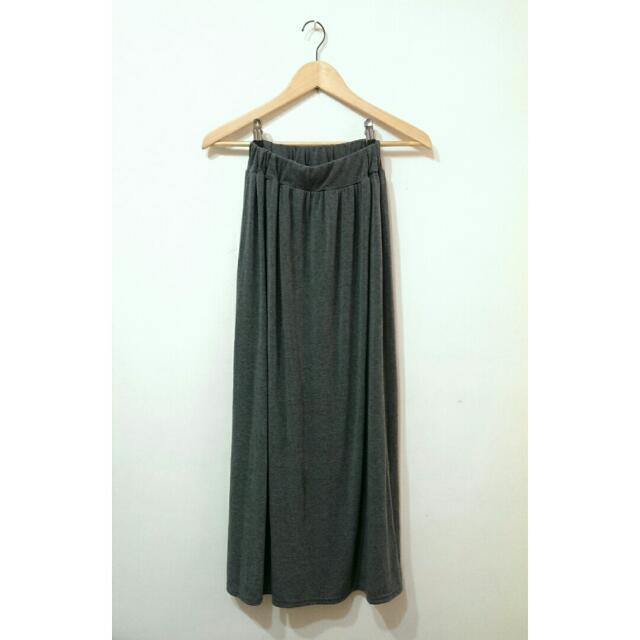 【保留中】腰鬆緊灰色棉質長裙