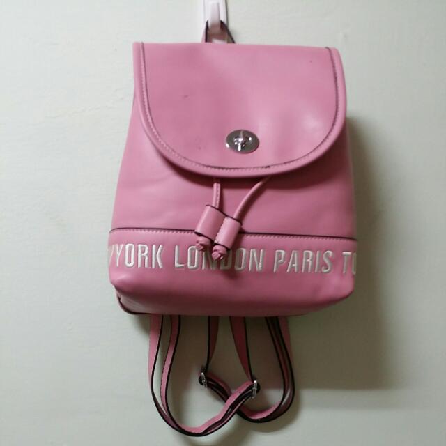 (二手)粉紅色硬後背包