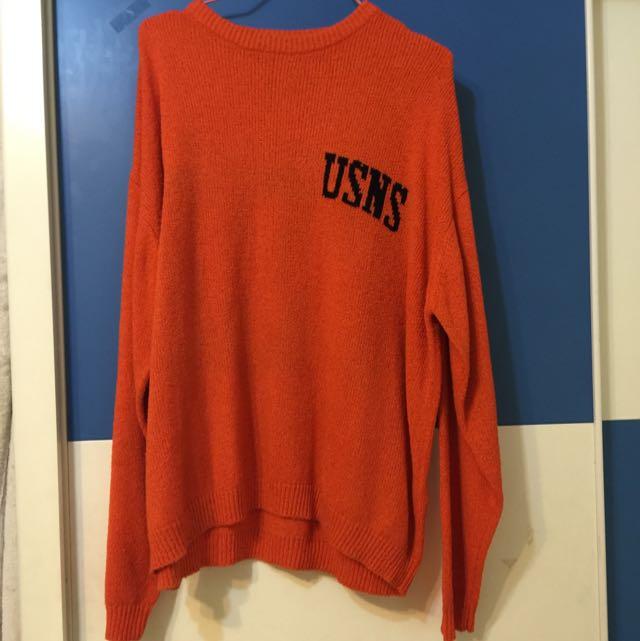 長版橘色針織衣