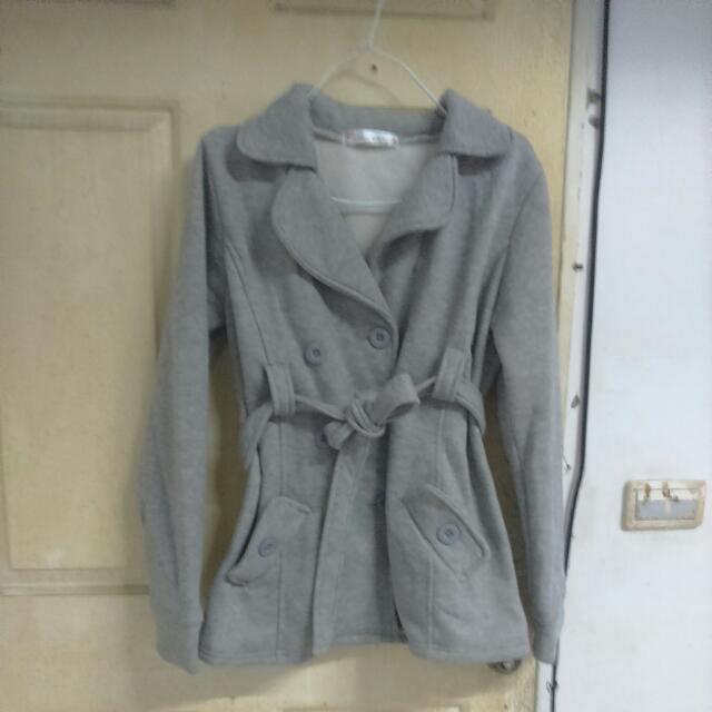 全新灰色綁帶外套