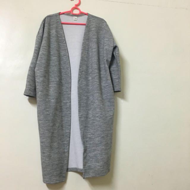 棉質素面長版開襟大衣(淺灰)