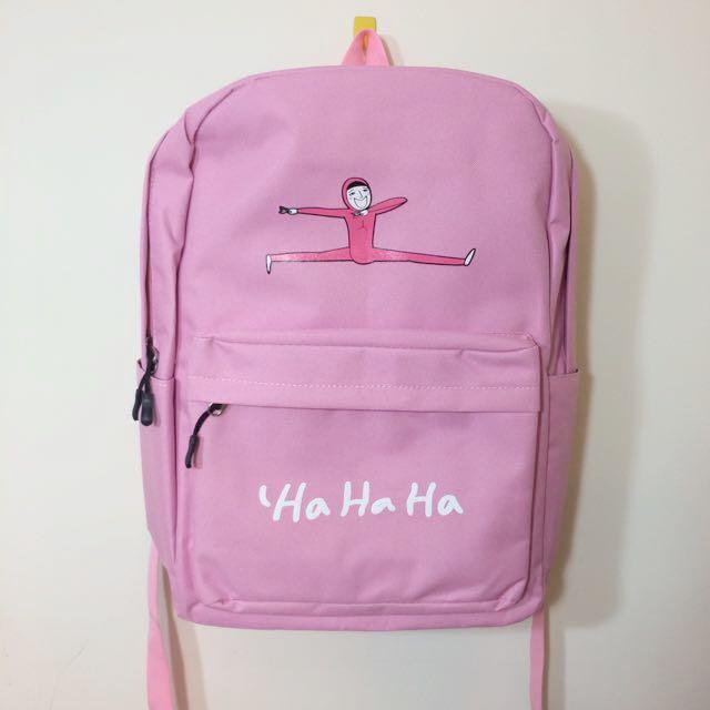 粉色浪潮。可愛小人頭後背書包
