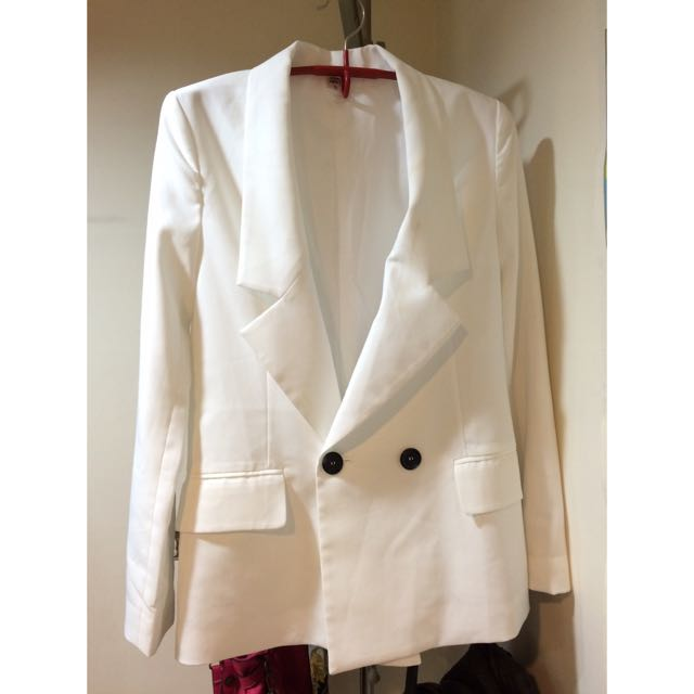 正韓 西裝外套 白色寬鬆好搭又好看 oversize