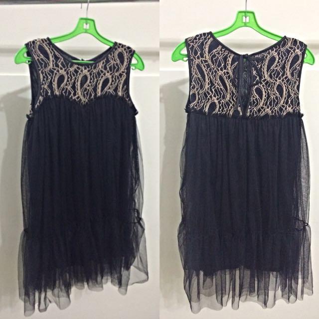 二手 黑色刺繡紗質洋裝