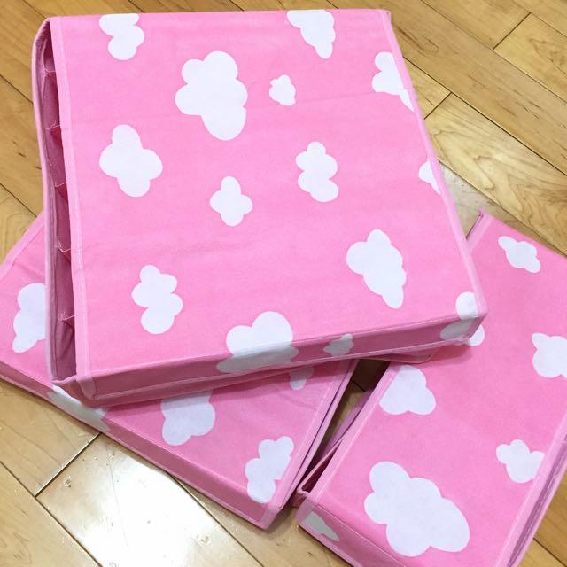 內衣內褲收納盒 三件組 粉色