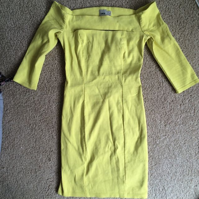 Asos Lime Green Off The Shoulder Dress, Size 8