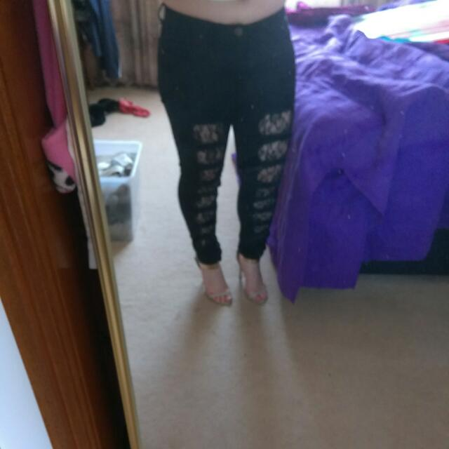 BooHoo Lace insert black Jeans