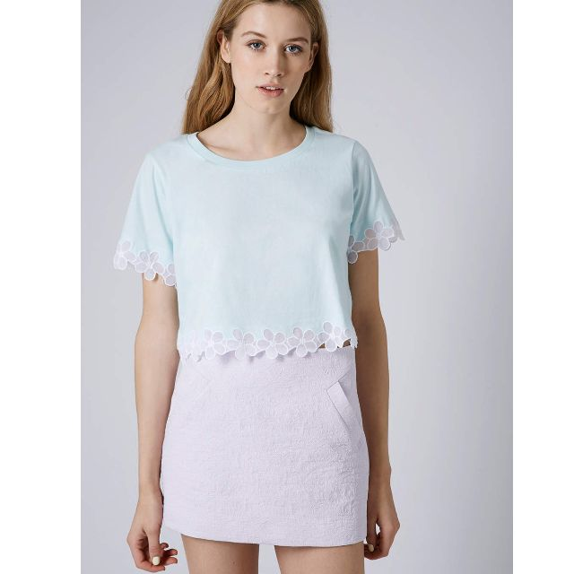 Looking for TOPSHOP Daisy Organza Tee in Mint and Yellow
