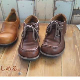 日本製 皮鞋 袋鼠鞋 s號 咖啡色