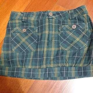 綠格紋雙口袋短裙S號