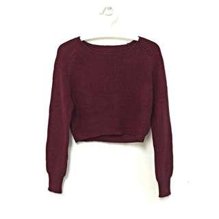 韓版 暗紅短版針織毛衣