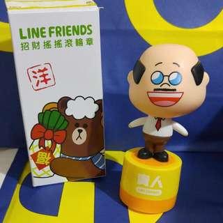 Line friends 招財搖搖滾輪印章 部長-貴人款